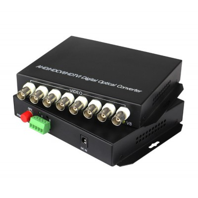 AHD/TVI/CVI Digital Optical Converter 8 Port + 2 PTz.