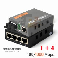GIGABIT MEDIA CONVERTER 1+4 /SM/20 KM