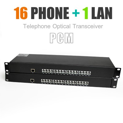 Telephone Optical Transceiver 16 Phone + 1 Lan 20 KM