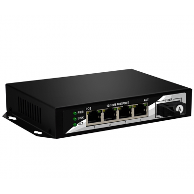 Fiber Optic POE Switch 4 Port 10/100