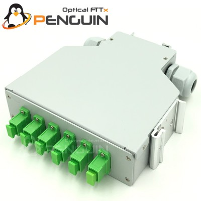 DIN Rail Termination Box 6 SC/APC (กล่องโลหะ)