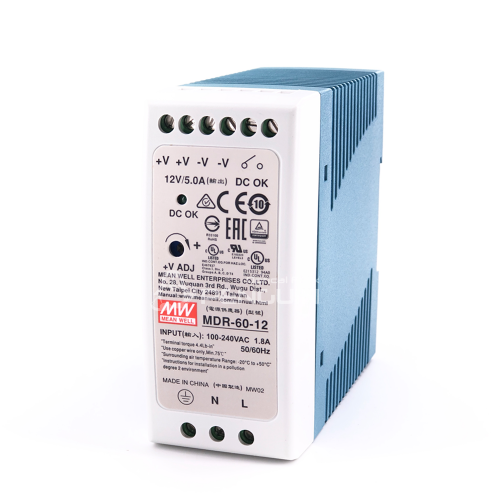 60W Single Output Industrial DIN Rail Power Supply MDR-60-12
